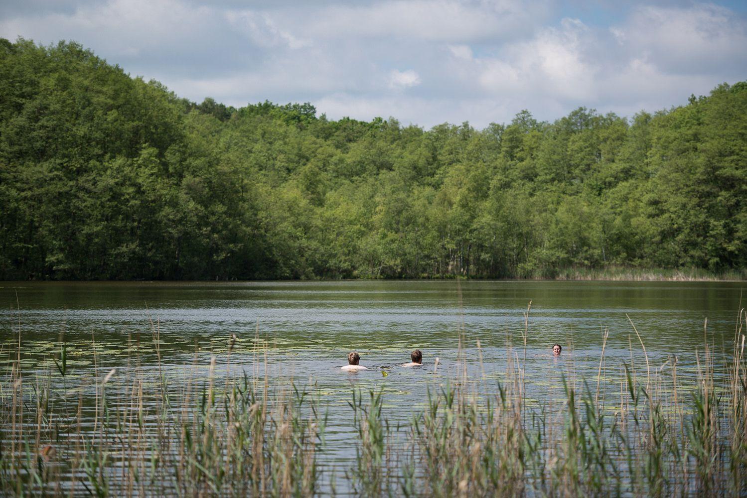 Blick auf den See und schwimmende Personen