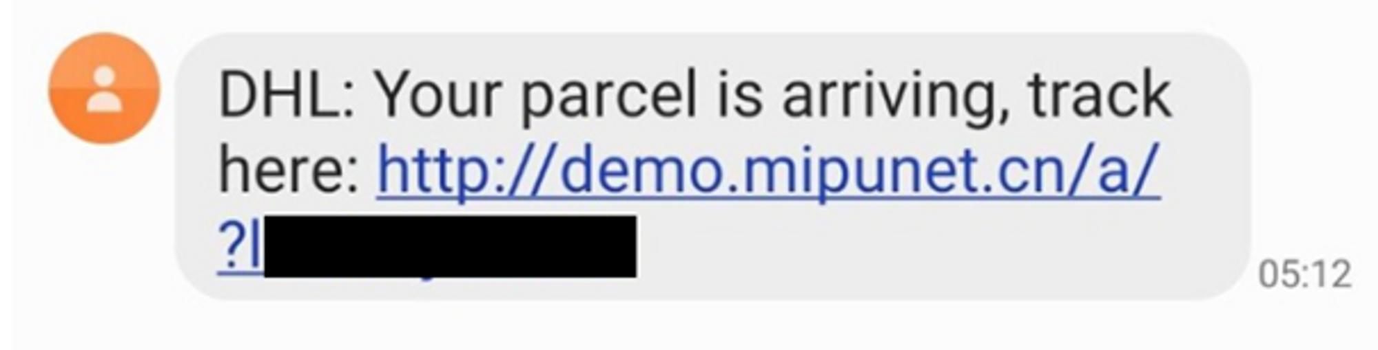 Bild på sms med länk till skadlig kod