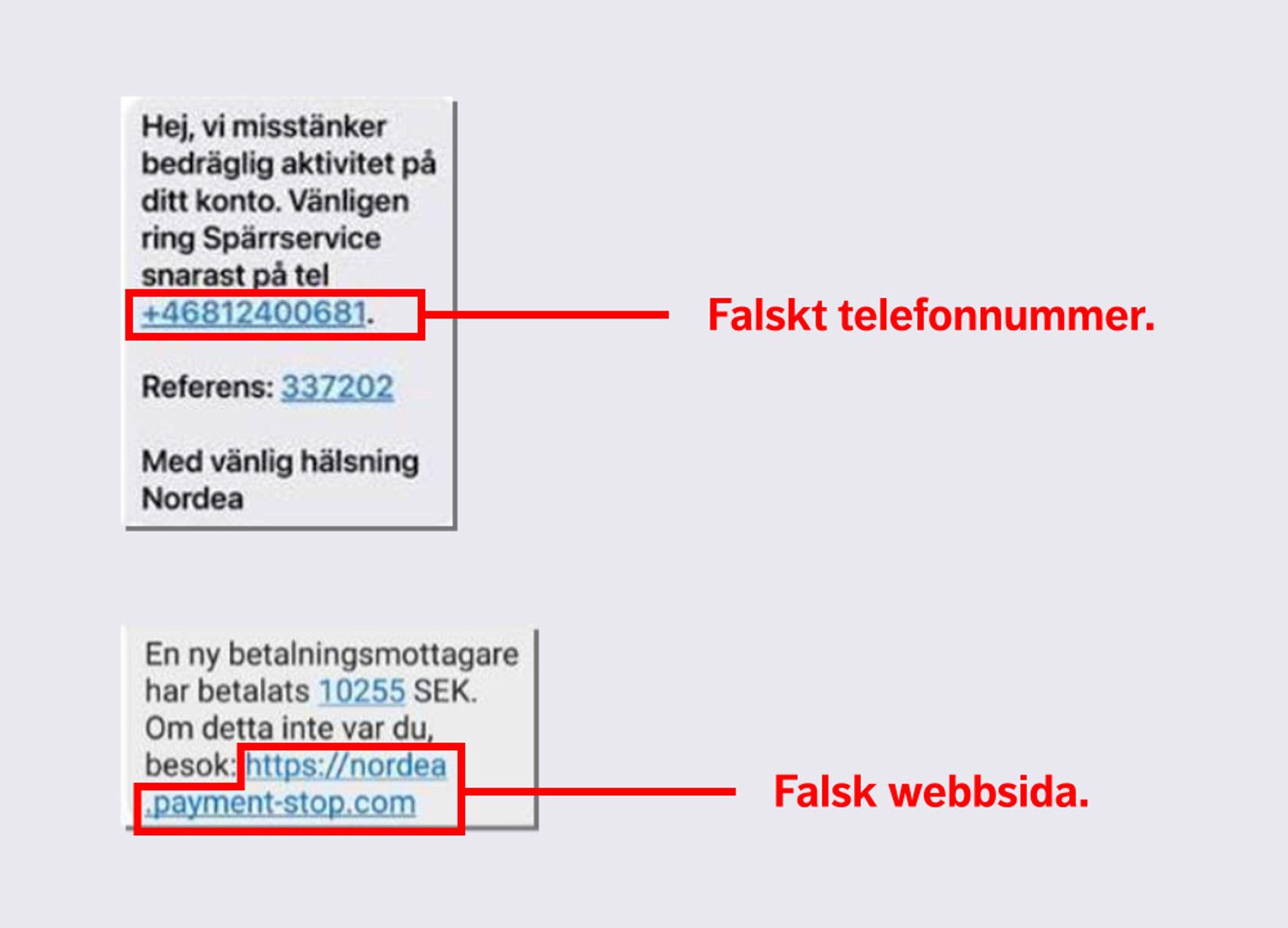 Nordea varnar för falska sms.