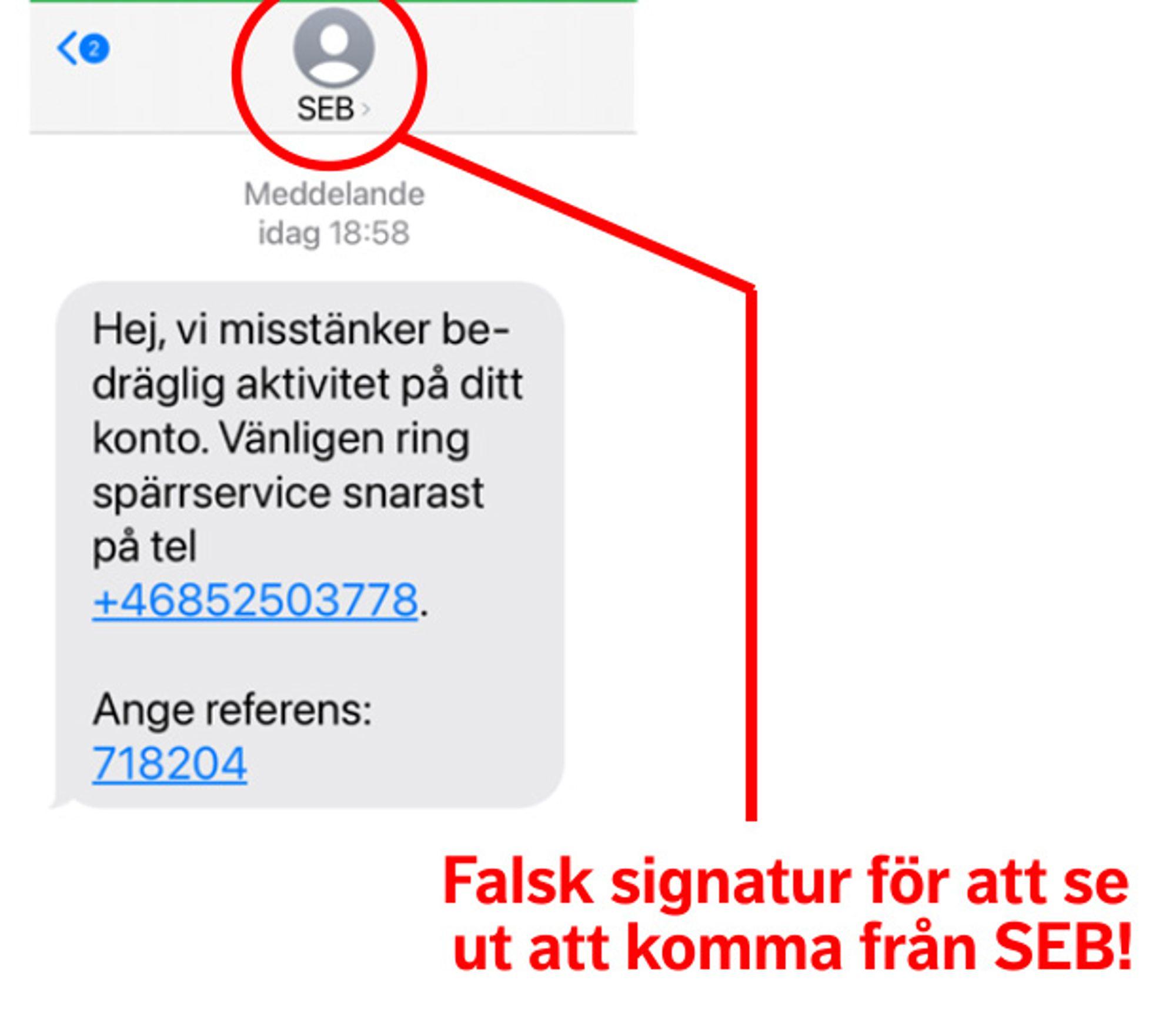 Falska sms som ser ut att vara från SEB - Bedrägeri