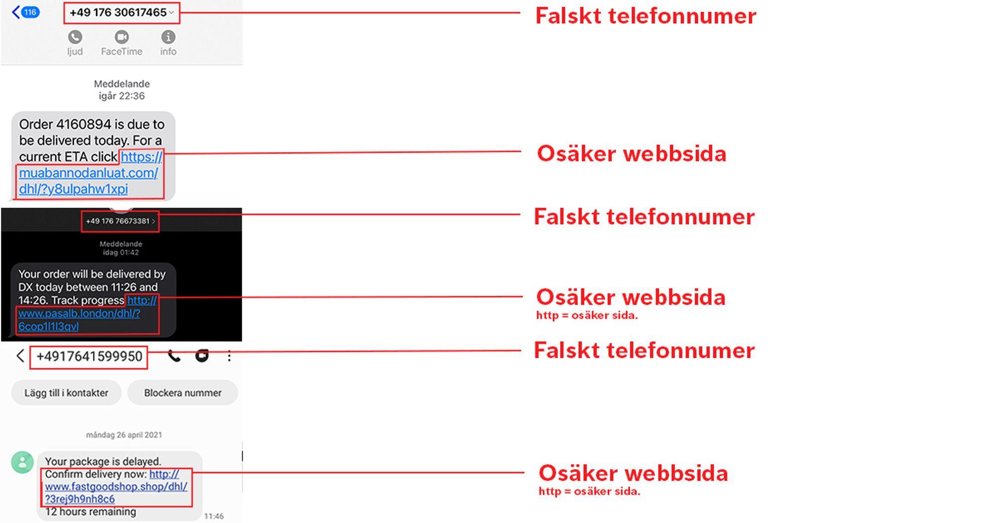 Bild på flera falska sms med hyperlänkar