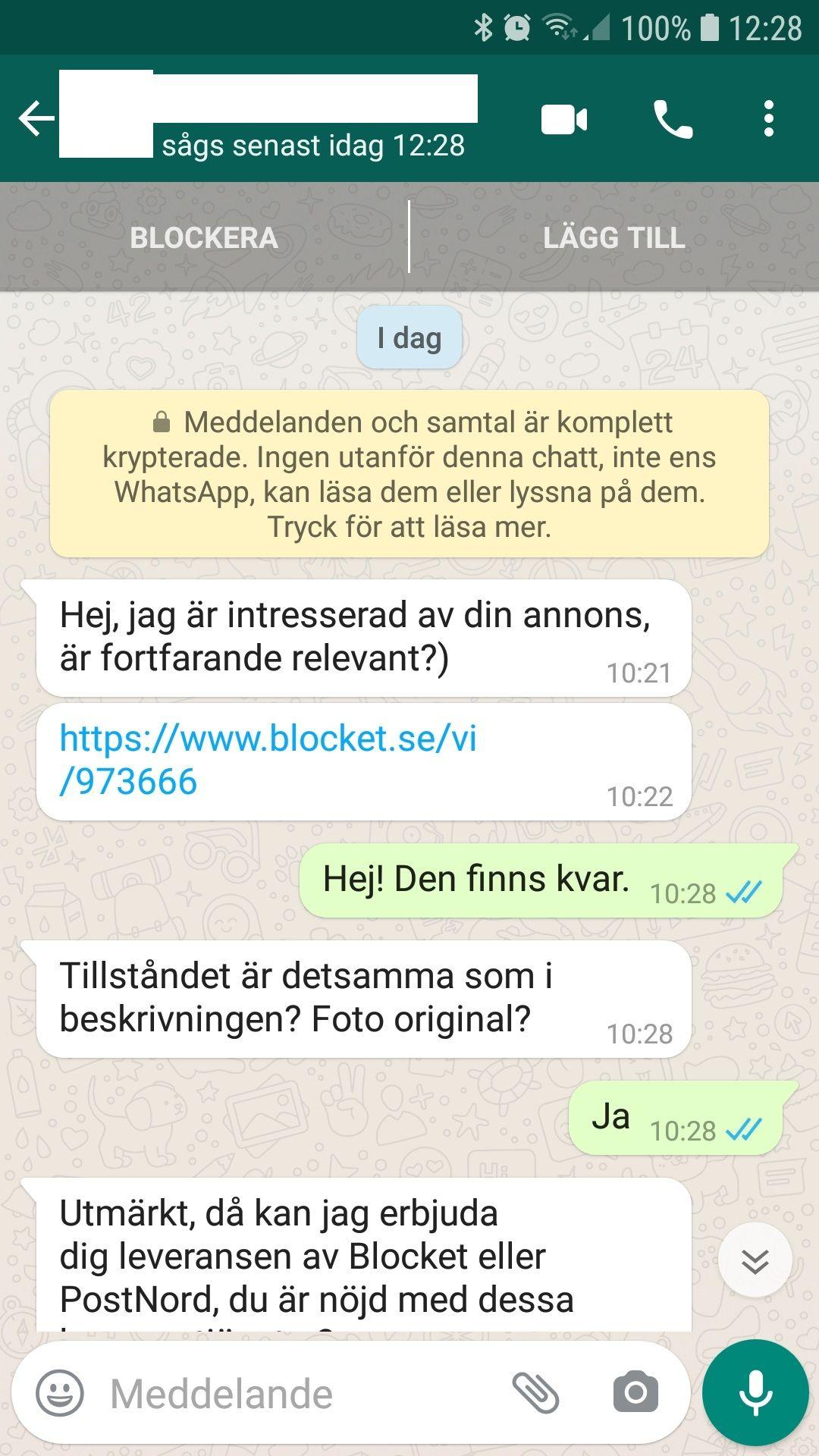 WhataApp konversation
