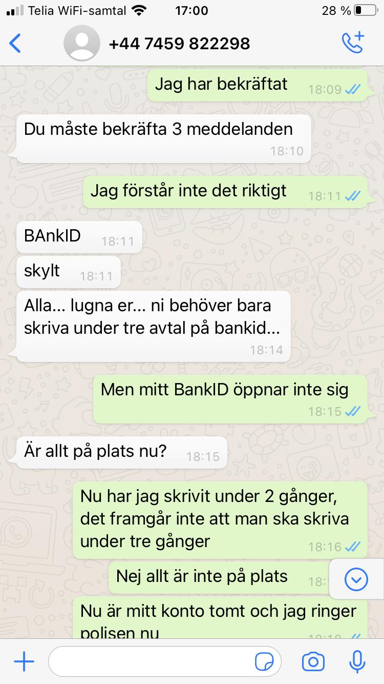 Blocket bedrägeri via whatsapp samtal