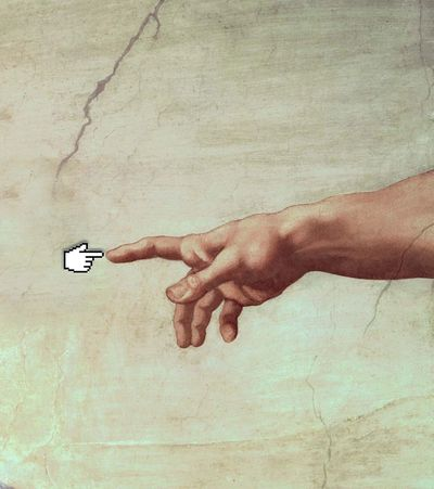 Hand of god painting but one hand is replaced with computer pointer hand