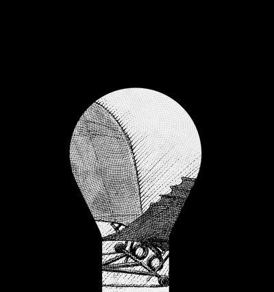Image of Leonardo Da Vinchi's Flight Machine sketch masked in shape of lightbulb