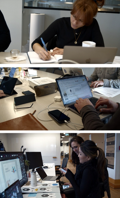 Top: Person writing in notebook in front of computer. Middle: Person working at laptop with phone plugged in. Bottom: Two people sitting in front of multiple computers scanning cards with a phone app.