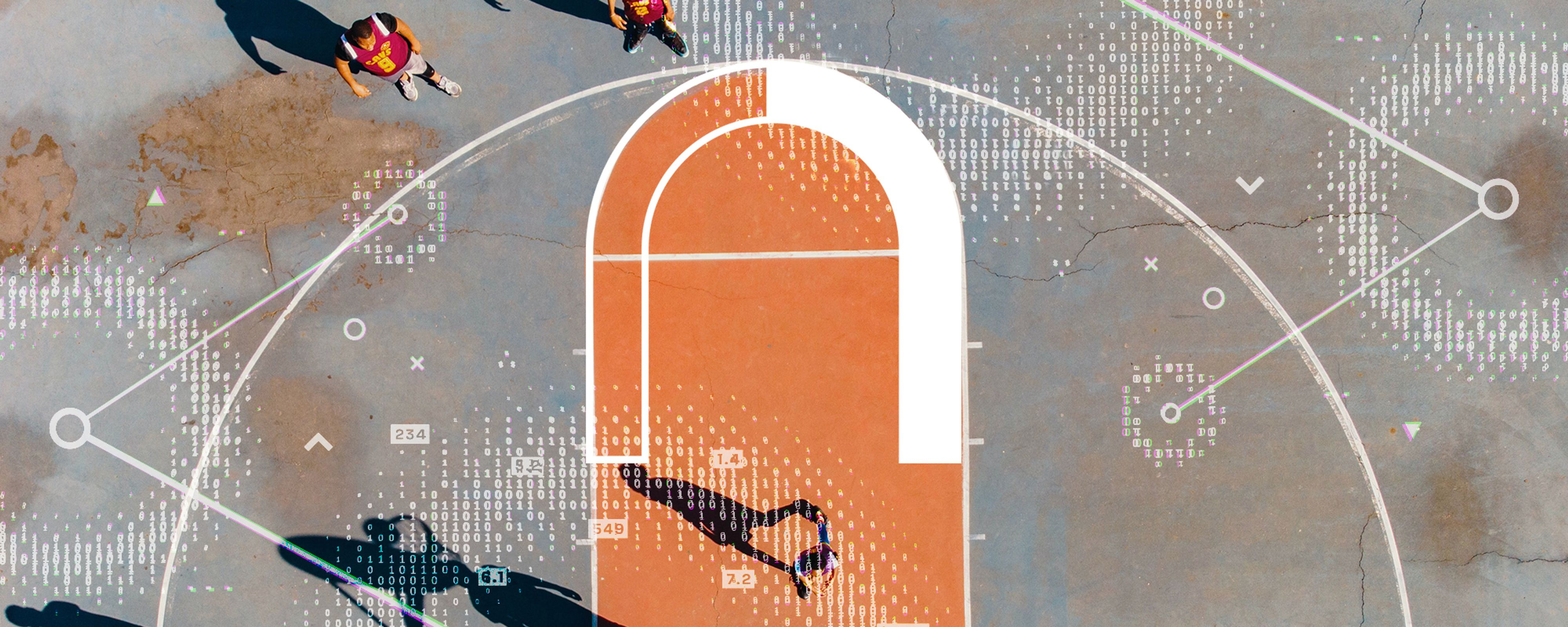 A basketball court is overlaid with digitized circles and lines