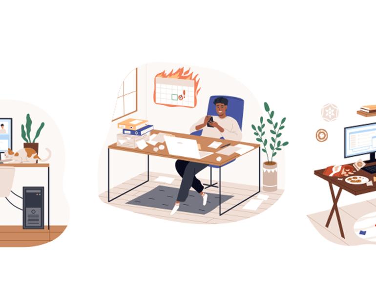 Illustrations of different work scenarios