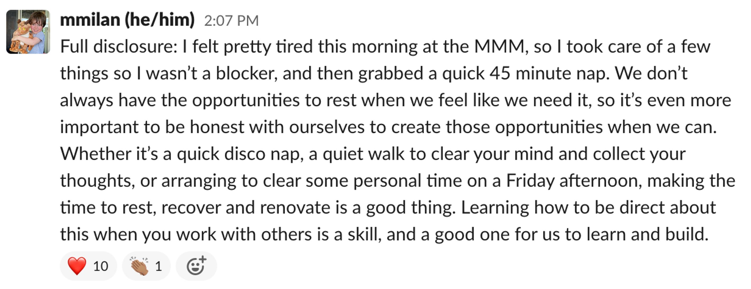 Matthew's Slack Message on team chat