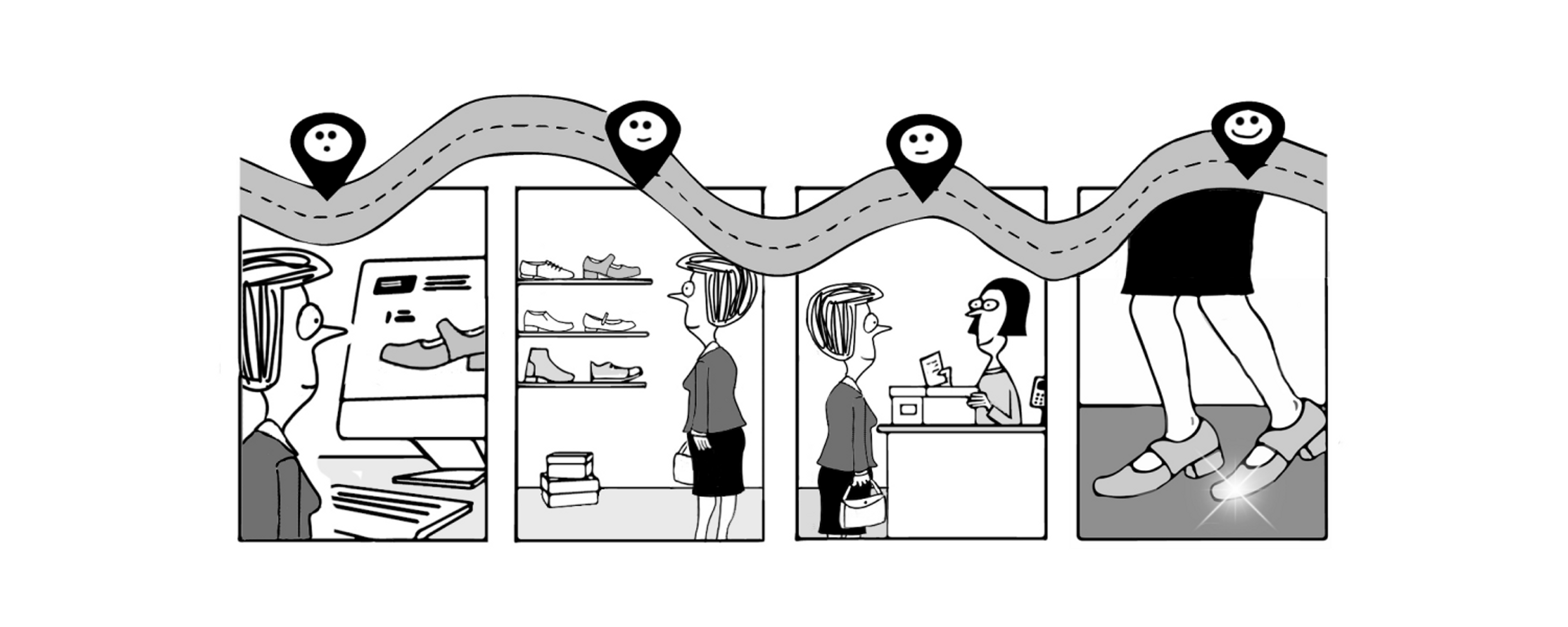 Cartoon of woman buying new shoes