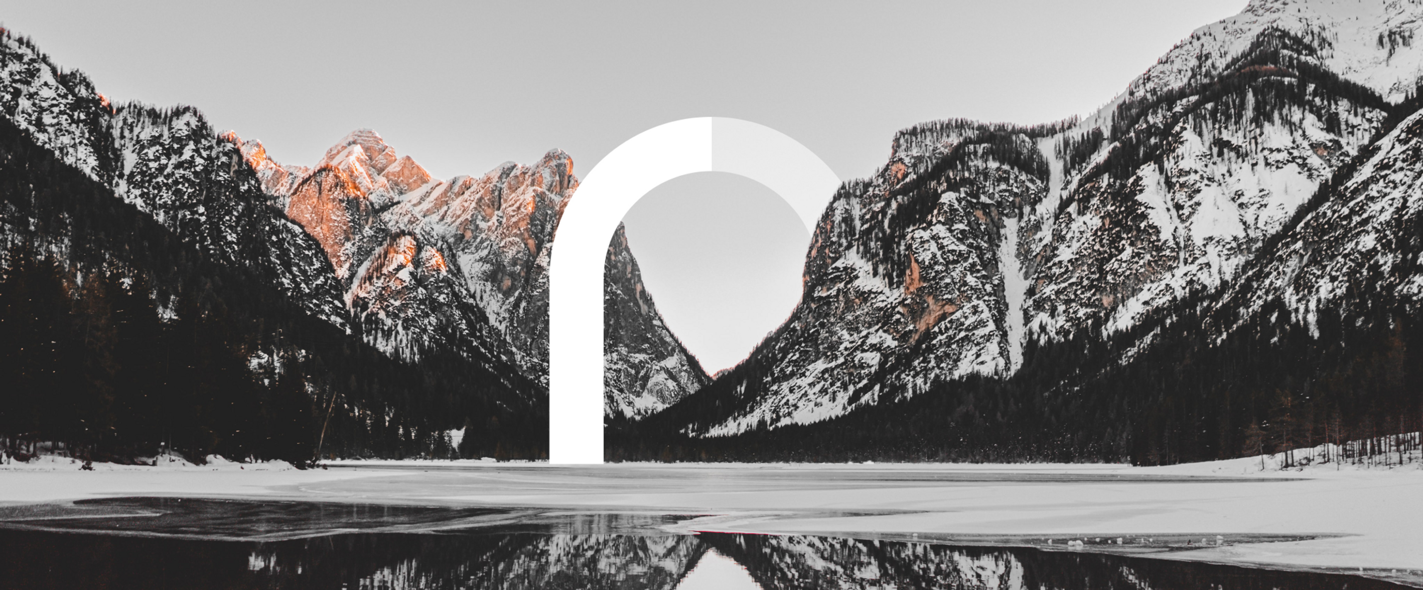 Mountain scape with the letter n bridging a gap