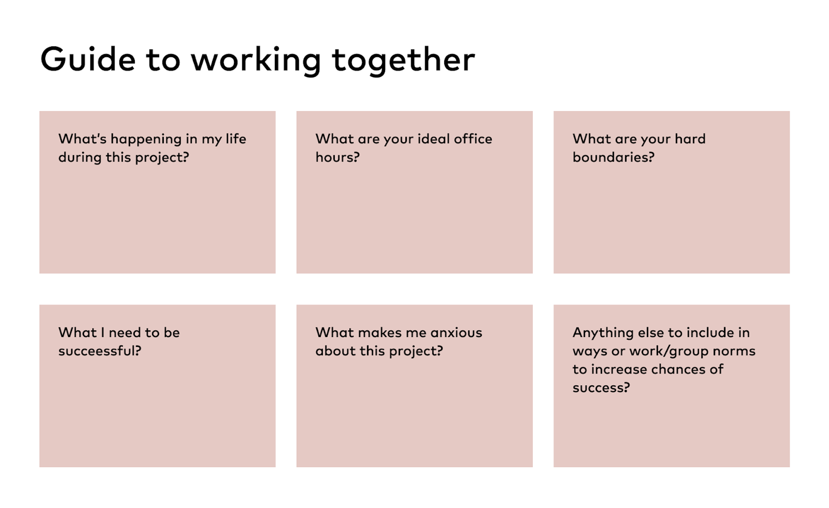 Guide boxes for working together
