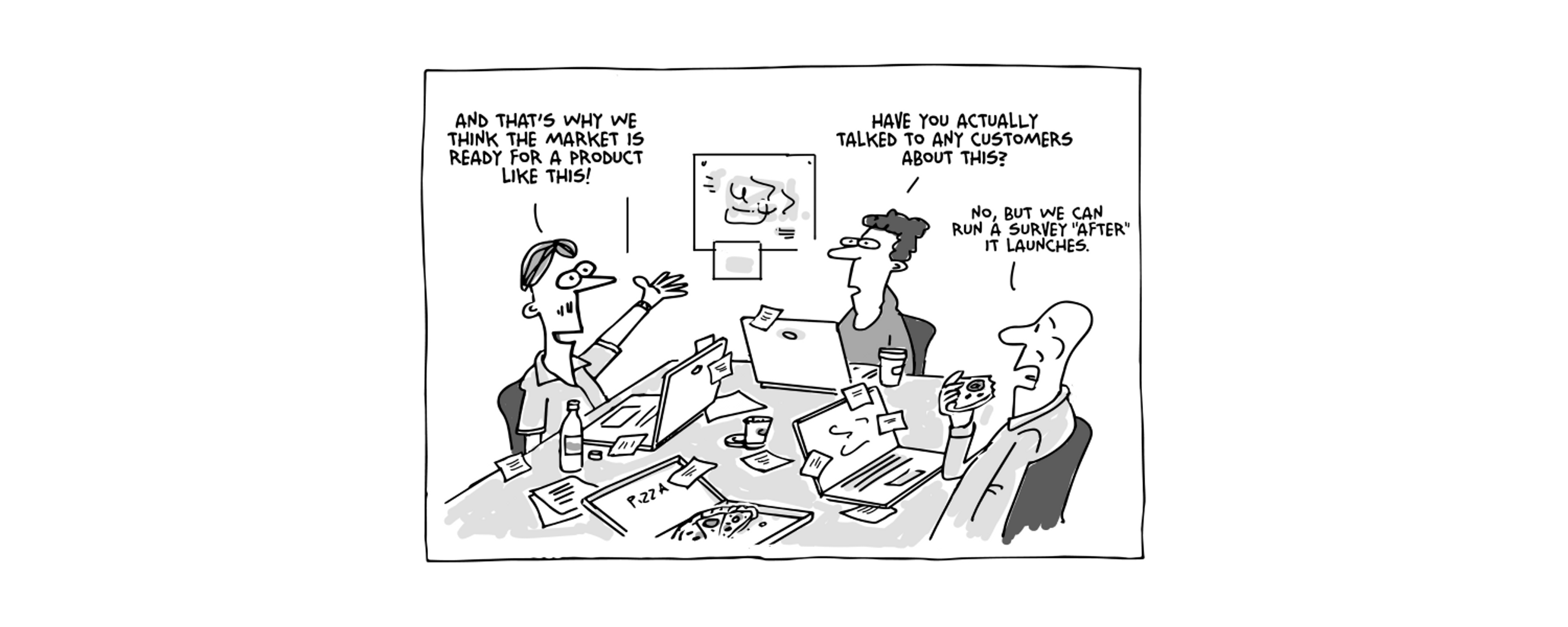 Funny illustration of people in a boardroom