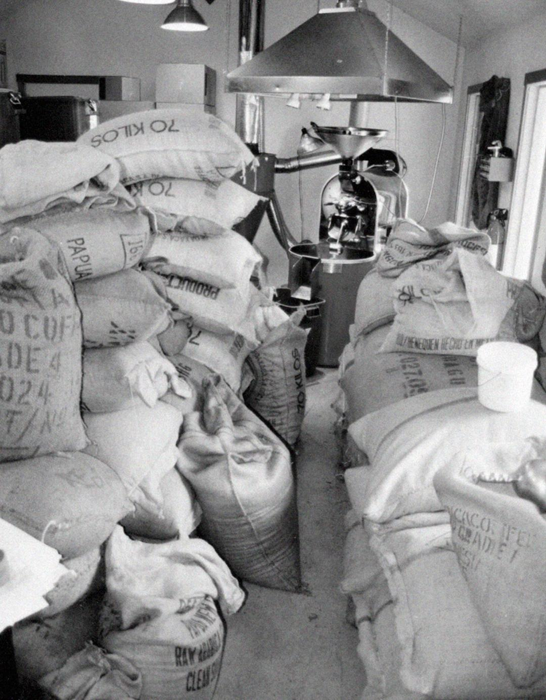 Large sacks of coffee