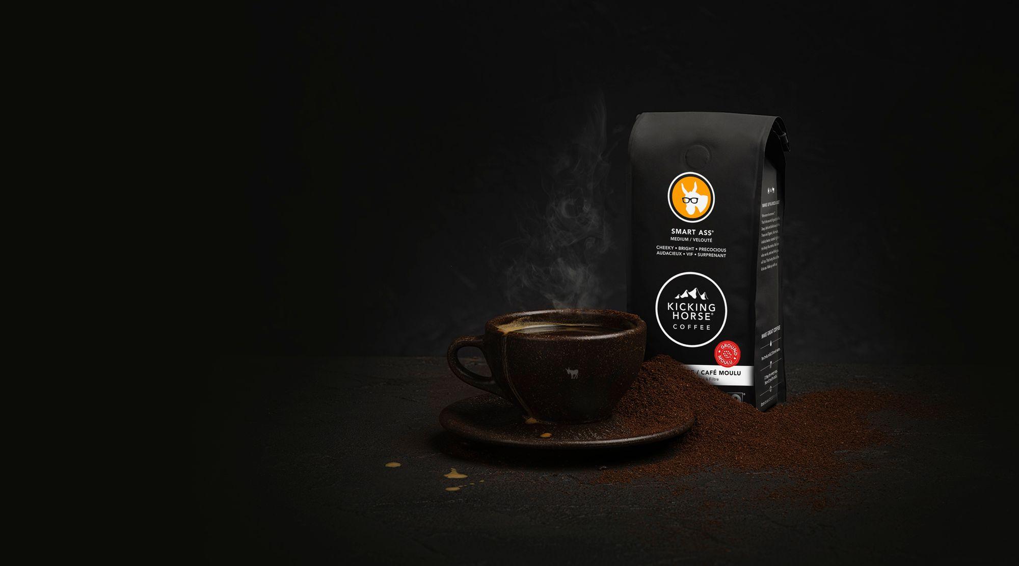 Smart Ass ground coffee with coffee mug