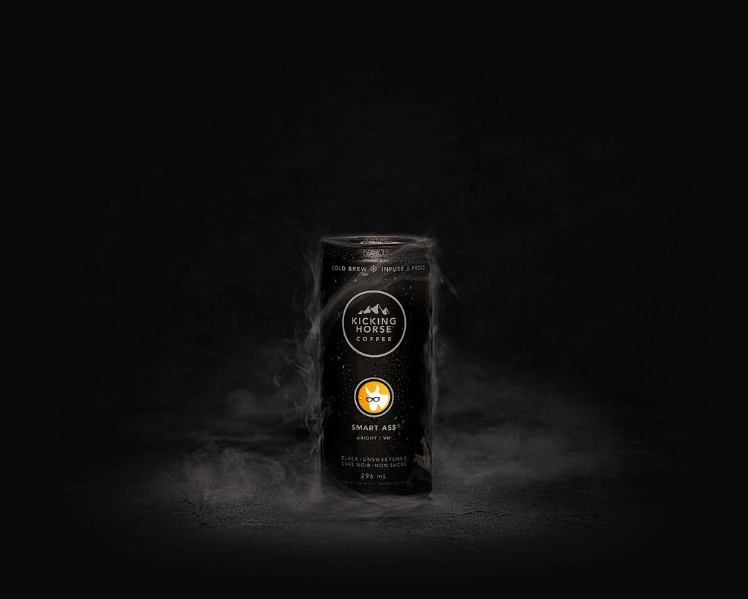 Smart Ass cold brew can with condensation and fog cloud