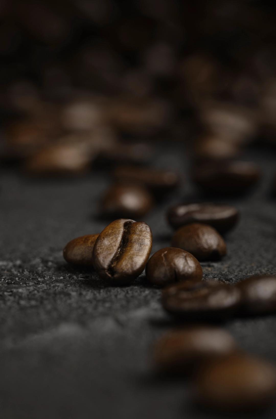 Blurred coffee beans
