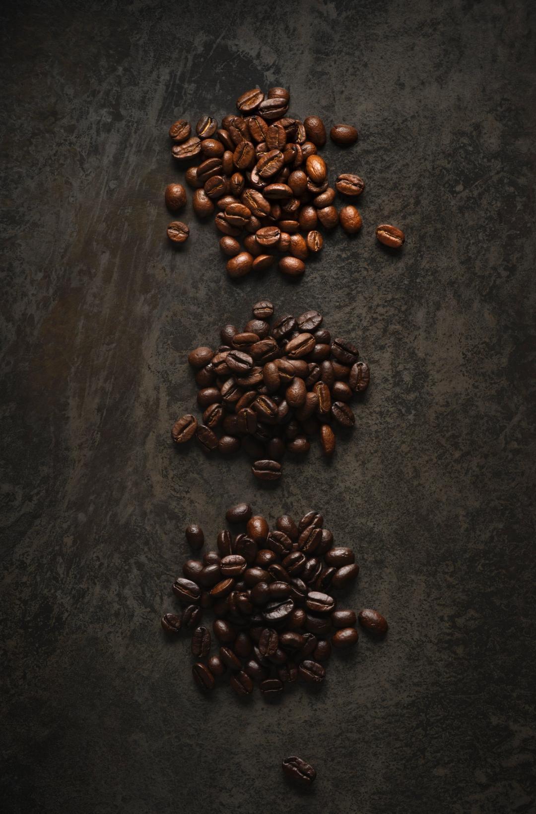 Light, medium and dark Coffee beans