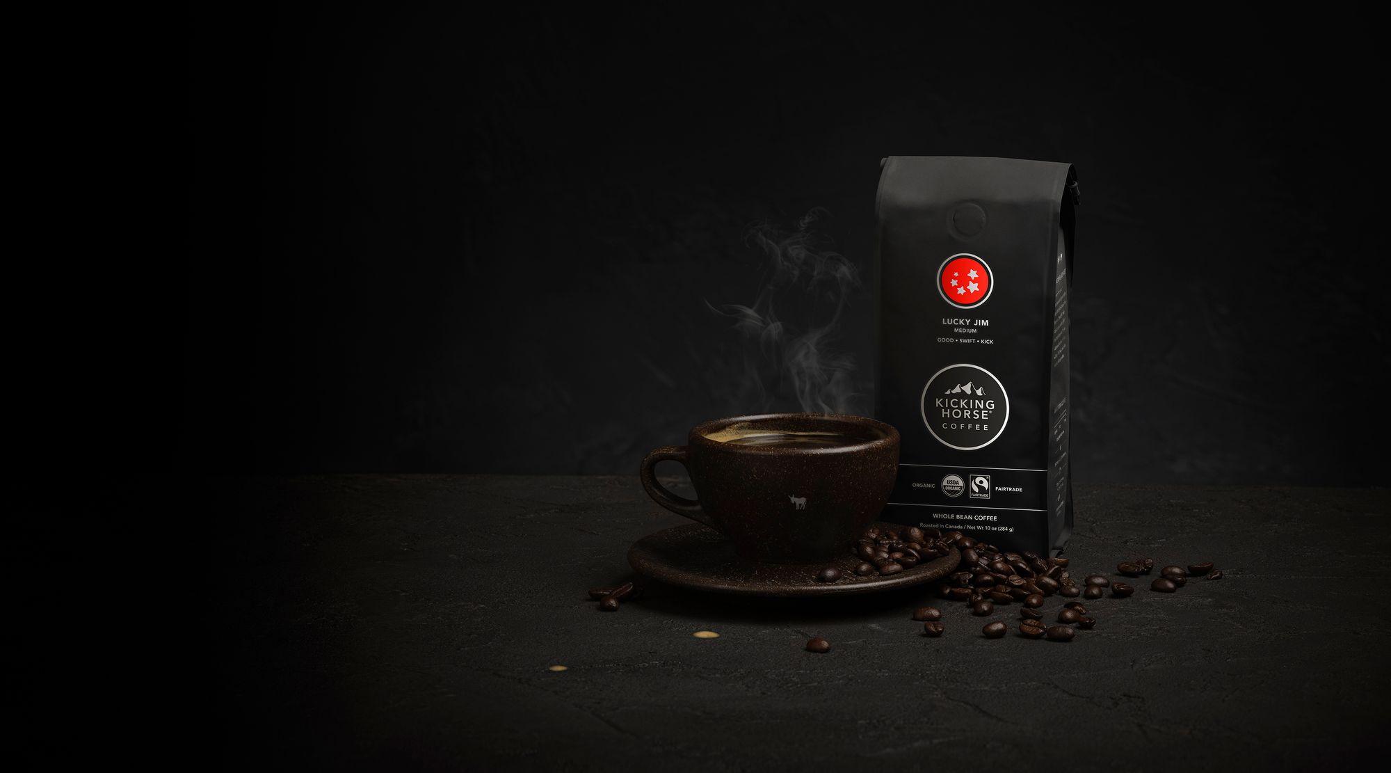 Lucky Jim whole bean and ground coffee with coffee mug