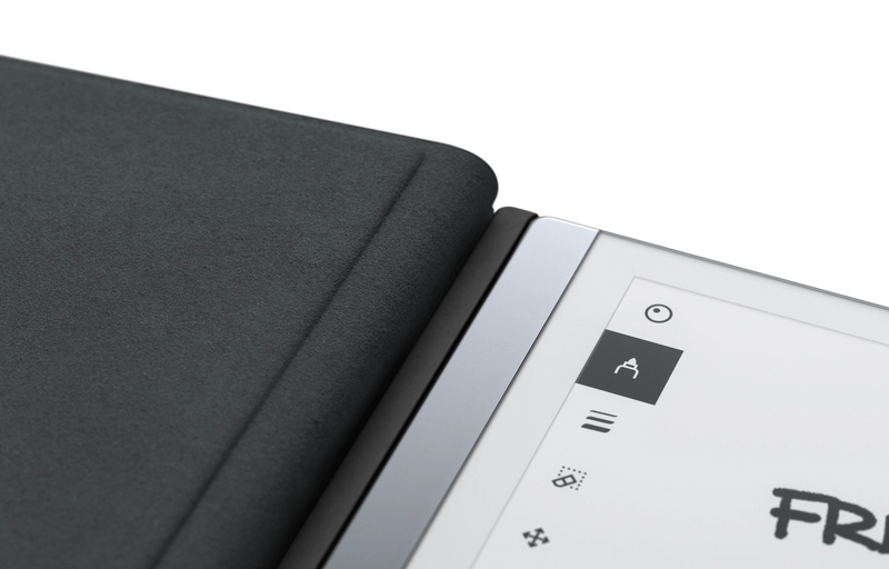 Book folio attached to device magnetically