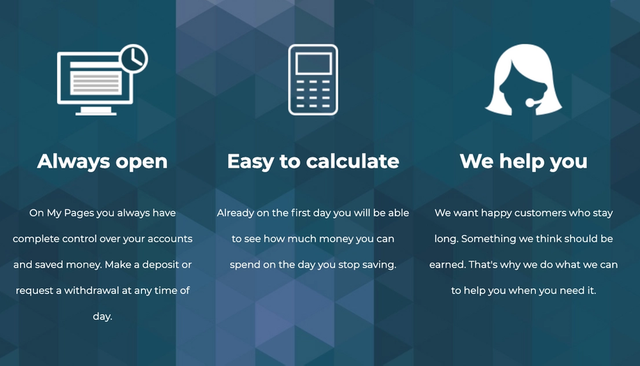 3 panels saying Always open, Easy to calculate, we help you