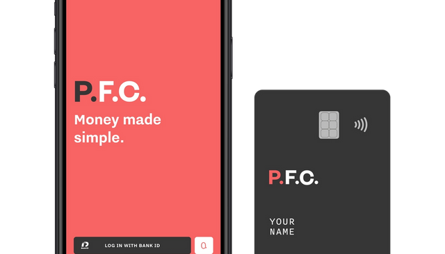 P.F.C. mobile log in screen with debit card.