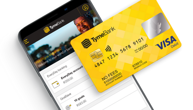 A mobile phone showing the TymeBank app interface with a TymeBank debit card