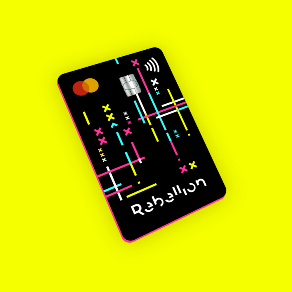 Rebellion banking card on bright yellow background