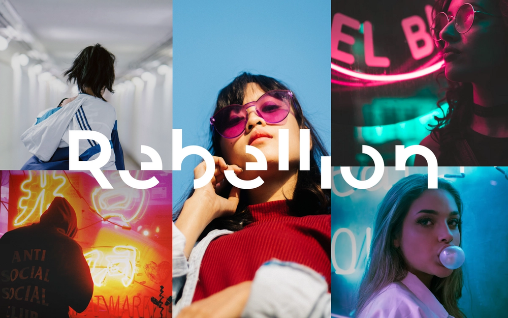Grid of images showing young cool people with Rebellion logo over the top.