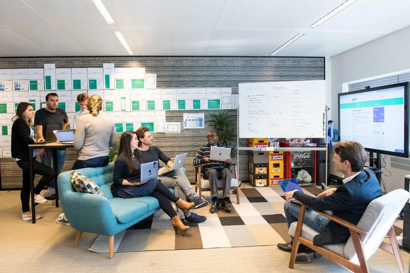 Business people working together in a creative office environment