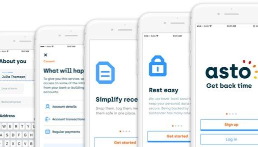 5 mobile previews of Asto onboarding interface