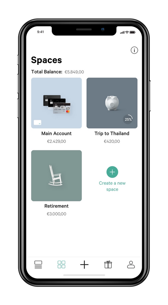 Mobile showing app's spaces dashboard