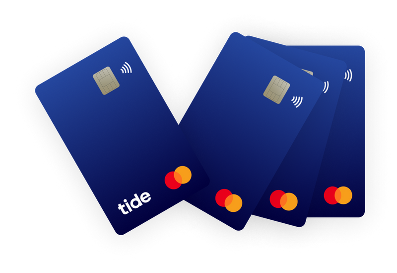 A collection of Tide banking cards/