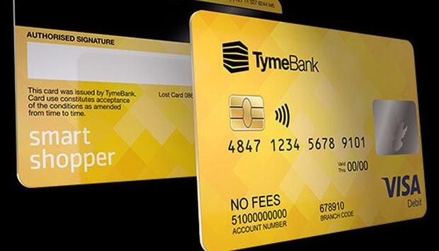Front and back of a TymeBank debit card over a dark background