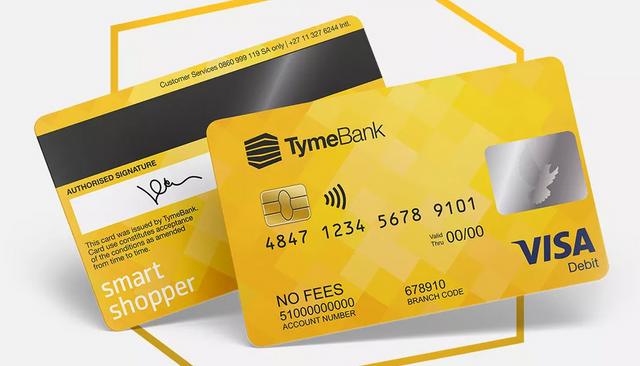 Front and back of a TymeBank debit card