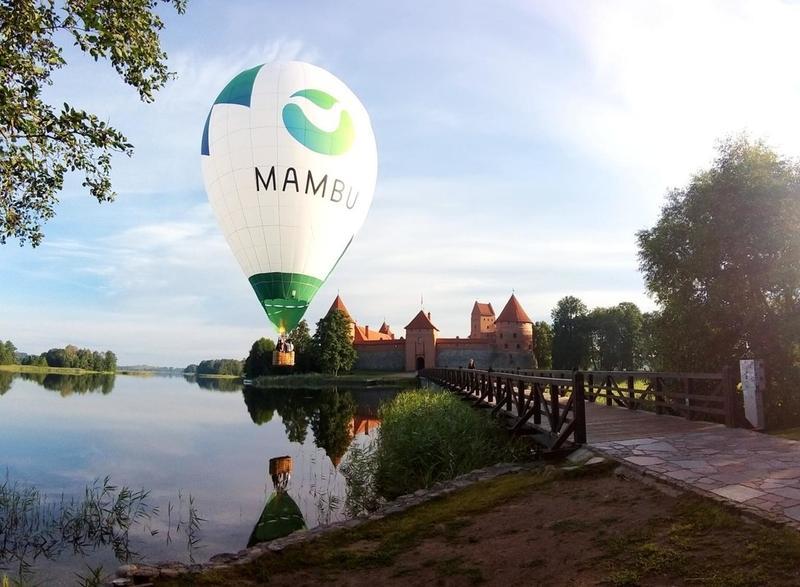 Hot air balloon sporting Mambu logo