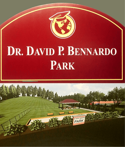 In recognition of Dr. Bennardo's leadership, the Board of Education presented the gift of the DR. DAVID P. BENNARDO PARK, which will be situated on the land with the great sleigh-riding hill next to the James Kaden Administrative Offices!