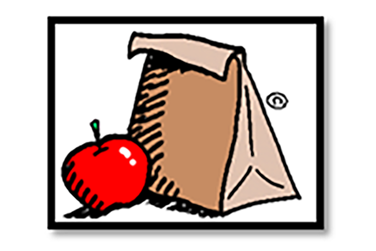 Image of lunch bag and apple