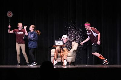 With Walt Whitman's senior class running the show, the students put a humorous spin on their unique high school experiences through a variety of well-thought out skits, including 'Virtual Gym Class' pictured above.