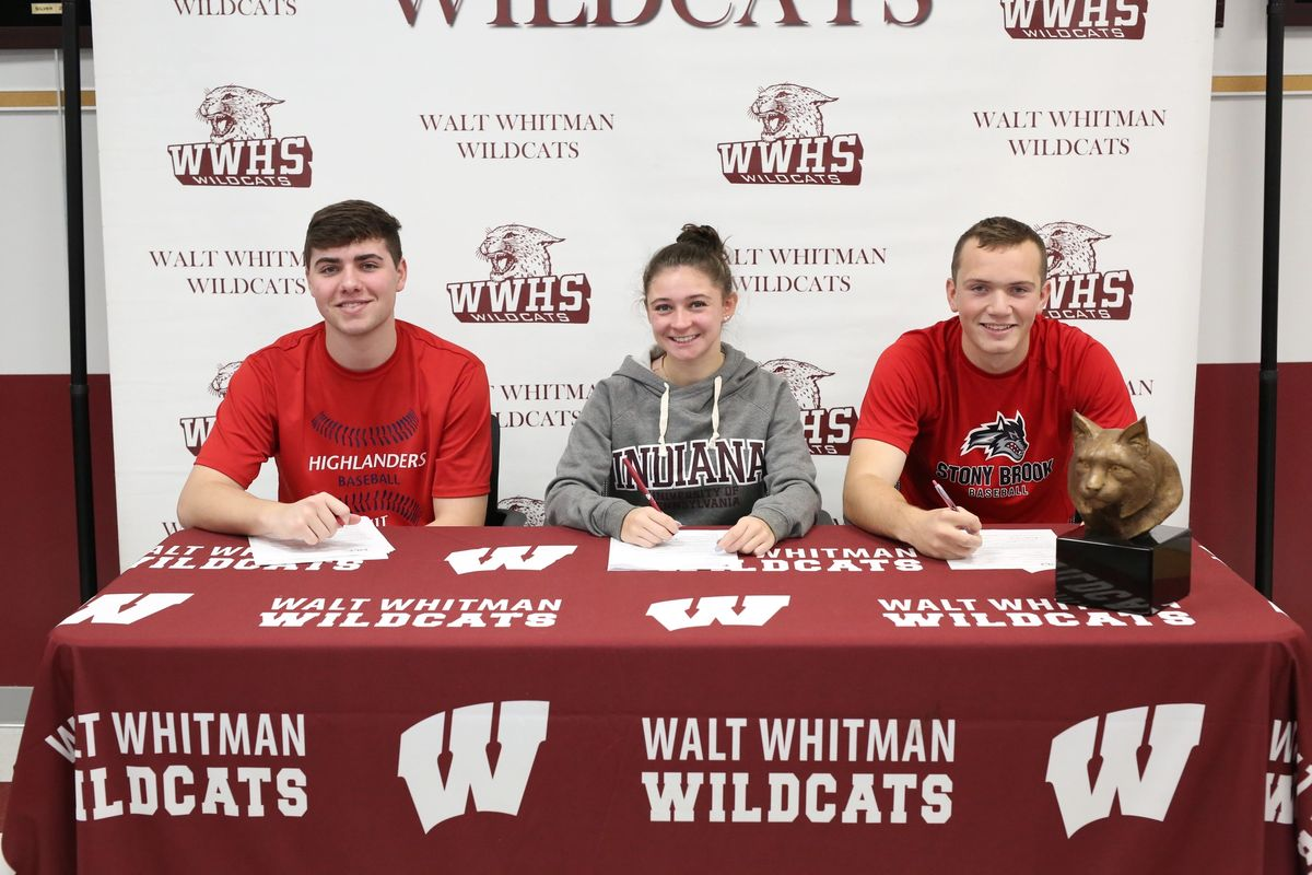 (left to right) Jake Fullerton, Kristen Finnerty, and Andrew Ledbetter commit to playing at the next level of their respective colleges next year.