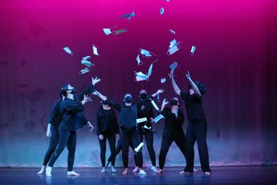 MASKerade, performed by Modern Dance I, reflects mask wearing amidst the pandemic, their use for protection, and now a symbol of liberation.