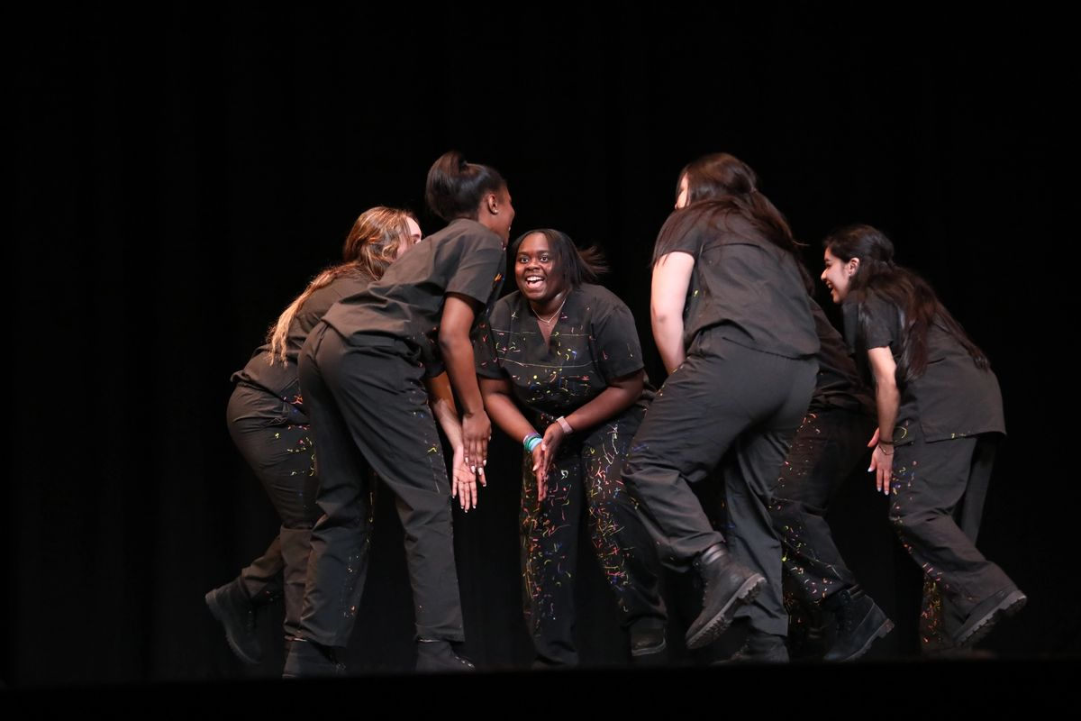 Image of Whitman Step Team performing
