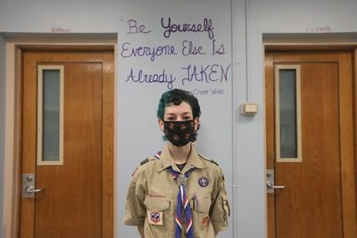 For her Eagle Scout service project, Summer Levinsky refurbished the Theatre Department's dressing room, a signature safe haven during her time at Walt Whitman High School.