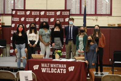 The World Language Honor Society Officers for 2020-21 welcomed their new inductees at the evening ceremony in Walt Whitman's North Gym.