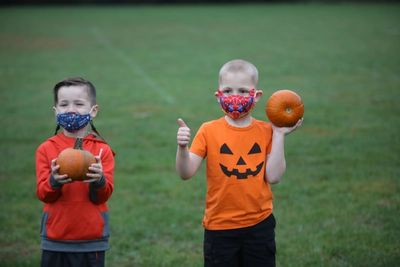 Image of Oakwood students with their pumpkins