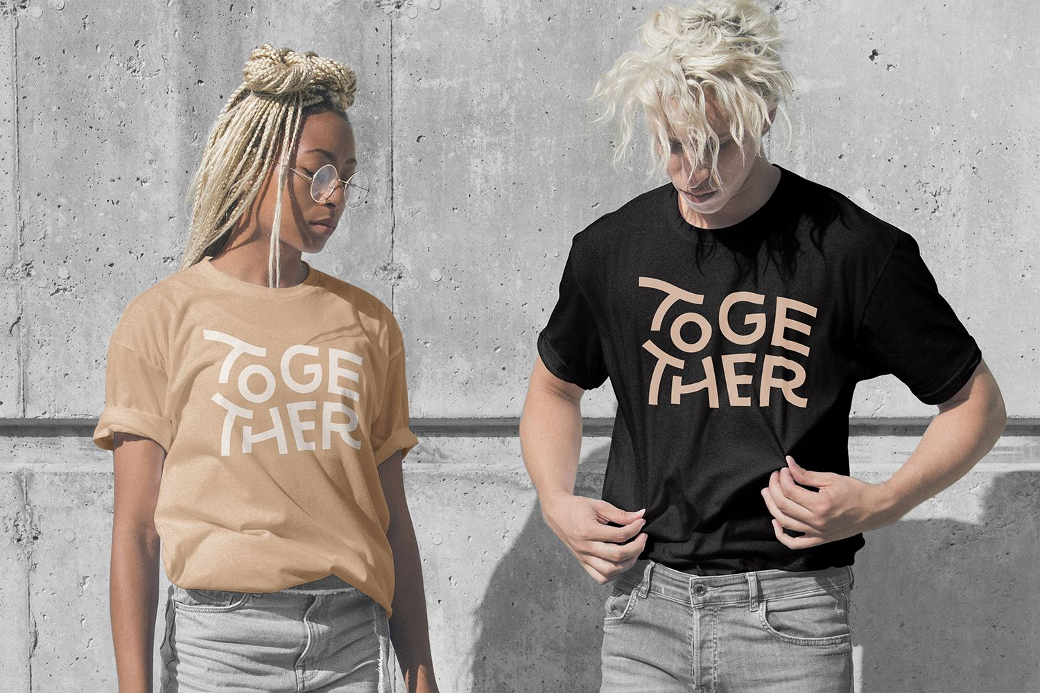 together agency brand identity design on t-shirt