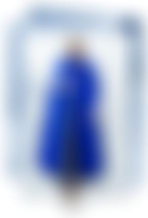 Gif of model wearing a blue dress with Dior text