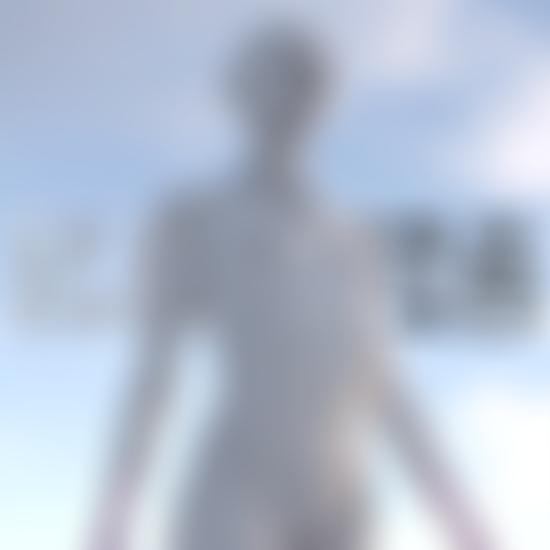 3D animation model of naked woman with blue sky