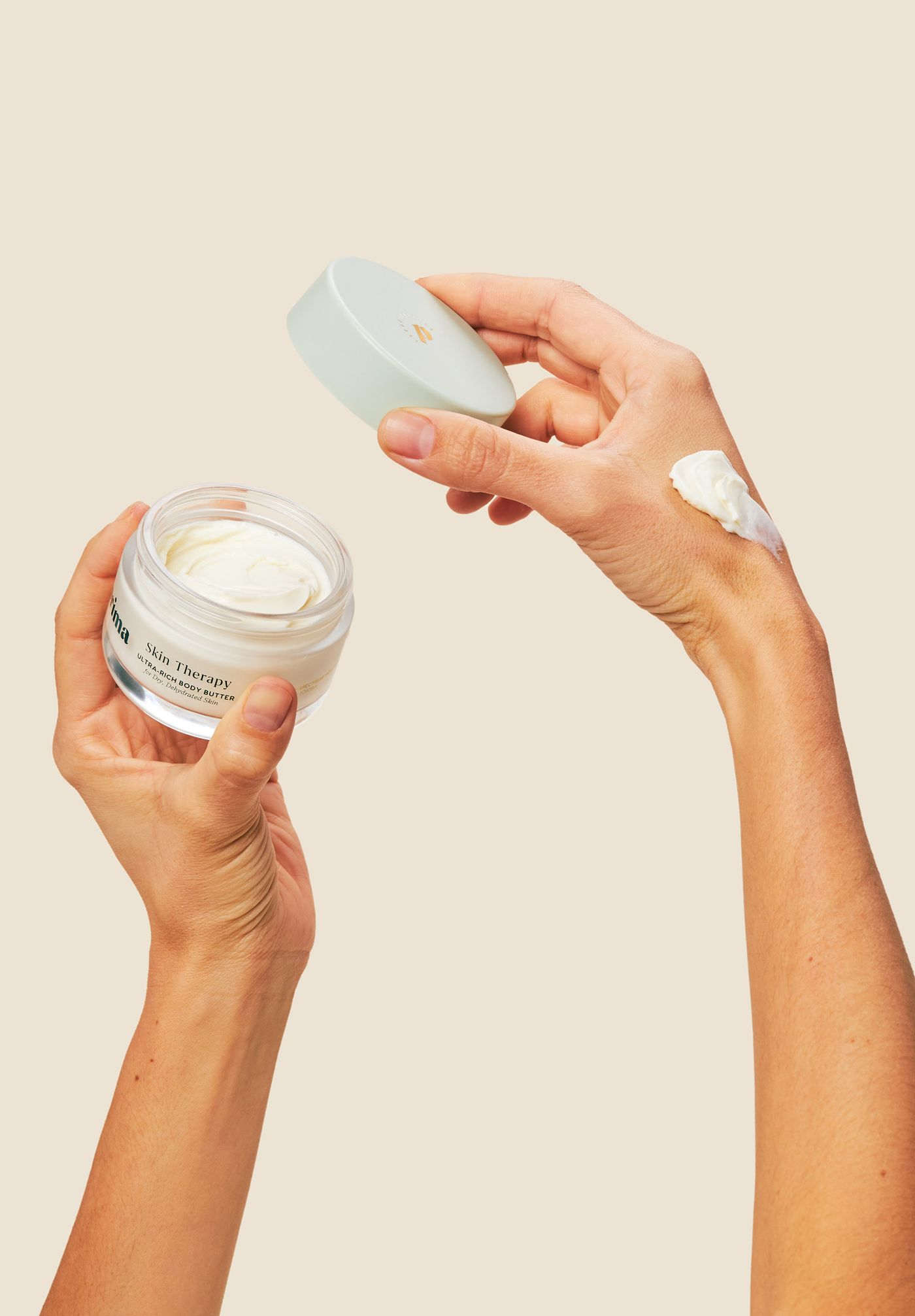 Applying Prima's Ultra-rich CBD Body Butter