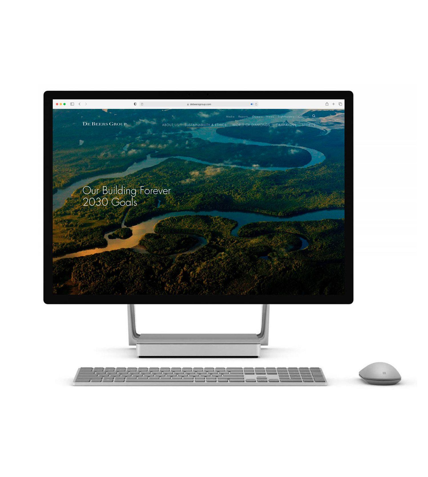 A De Beers group website displayed on a desktop